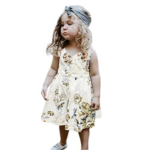 feiXIANG Baby-Mädchen Kleid Sleeveless Blumenkleid Outfits Sommer Kleinkind Kleidung V-Ausschnitt Strandkleider ()