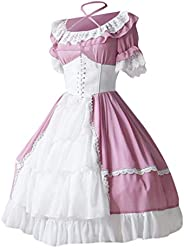 Luonita Women Medieval Vintage Gothic Court Gown Lace Clashing Dress French Apron Maid Fancy Lolita Dress Cost