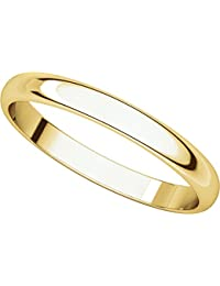14ct Yellow Gold, Light Half Round Wedding Band 2.5MM (sz H to Z5)
