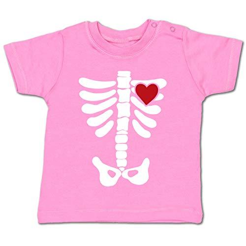 (Anlässe Baby - Skelett Herz Halloween Kostüm - 12-18 Monate - Pink - BZ02 - Baby T-Shirt Kurzarm)