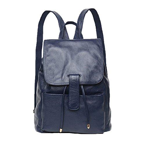 Damen Leder Rucksack Casual Style Klappe Rucksäcke Daypack Damen,Blue-M