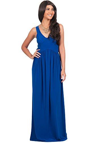 Koh Koh Damen V-Ausschnitt Ärmelloses Maxikleid Sommer Party Kleider, Farbe Kobalt/Royalblau, Größe L/Large (2)