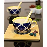 Kittens Handpainted Food Grade Ceramic Soup Bowls with Spoons (Blue and Yellow, 300 ml) - Set of 2