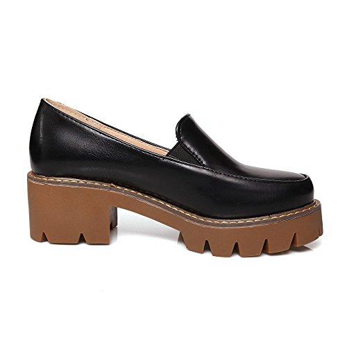 AgooLar Femme Couleur Unie Pu Cuir à Talon Correct Rond Tire Chaussures Légeres Noir