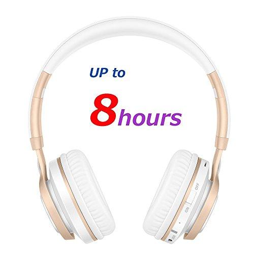 Bluetooth Over-Ear Kopfhörer, EONANT 4 in 1 BT-08 4.0 Bluetooth Wireless Headset Faltbarer Kopfhörer mit Mikrofon mit Mikrofon / FM / TF Karte / AUX für PC TV Smart Phones & Tablets (White-Gold) - 7