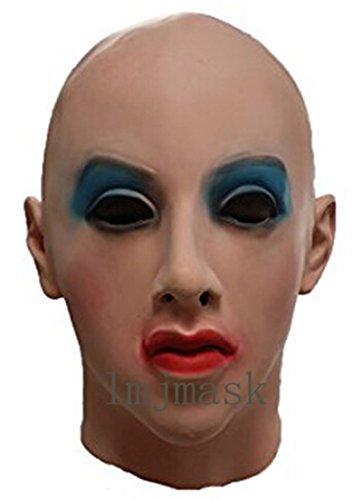 LMJMASK Full Head Realistic Female Mask (Realistic) (Blue Eyes)