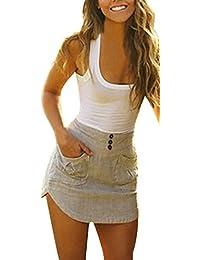 Donna Eleganti Vestiti Da Giorno Senza Maniche Estivi Gilet Corto Con Tasca  Slinky Partito Giuntura Abito 3397923681db