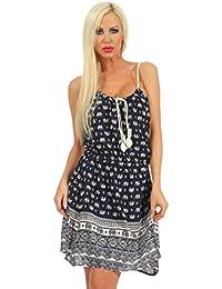 5246 Fashion4Young Tailliertes Damen Minikleid mit Spaghettiträgern Kleid Sommerkleid Strand