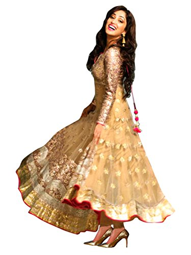 1 Stop Fashion Women\'s Net Semi-Stitched Salwar Kameez (Osfsk245020_Beige)
