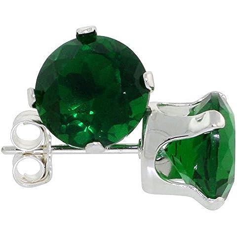 In argento Sterling, colore: verde smeraldo, 1 1/4 carato Dimensioni (7 mm)-Orecchini a lobo con zirconia cubica, taglio a brillante