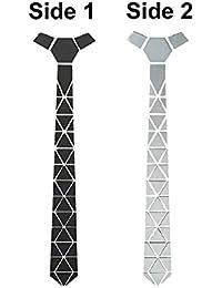 Krystle Classy Traingles Reversible Matte Black And Shining Silver Mirror Tie