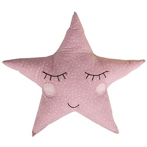 Cojín con forma de estrella, de Sass and Belle, con diseño de lunares, en rosa pastel