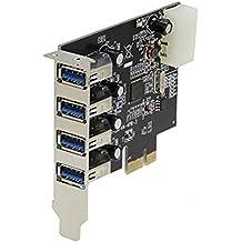 Sedna–4Port (4E) USB 3.0–Adaptador PCI Express con soporte de perfil bajo–(NEC/Renesas uPD720201circuito integrado)