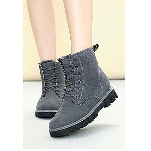 donne caviglia breve stivali tacco piatto invernale calda pelle casual comfort lacci neve cotone scarpe, 38 GRAY-35