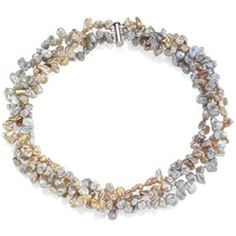 Sterling tonda d'acqua dolce Keshi-Collana con perle d'acqua dolce, 9 mm, JewelryWeb - Coltivate Collana Di Perle Keshi
