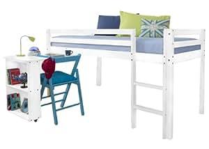 Lit cabane avec bureau Blanc & matelas pour lit mezzanine