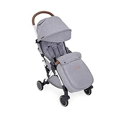 Ickle Bubba Baby Strollers | Lightweight and Portable Stroller Pushchair | Folds Slim for Ultra Compact Storage | UPF 50+ Extendable Hood, Footmuff and Rain Cover | Globe Max, Grey/Silver