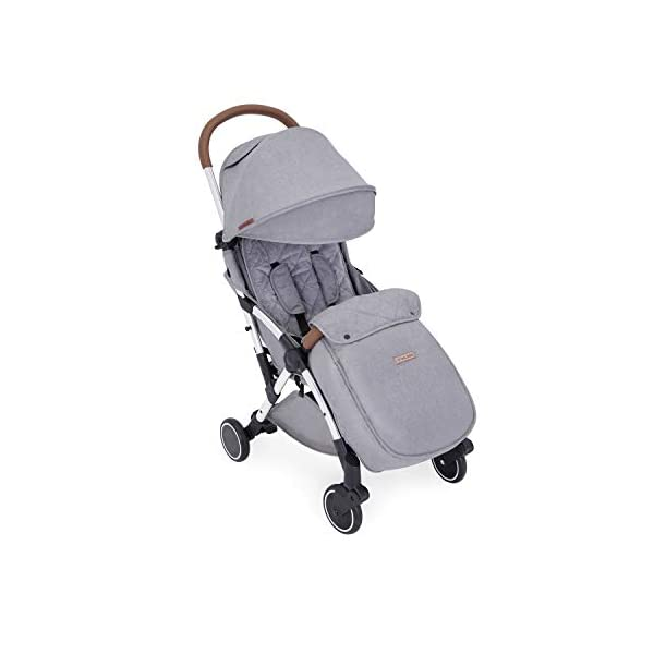 Ickle Bubba Globe Max Baby Stroller | Lightweight and Portable Stroller Pushchair | Folds Slim for Ultra Compact Storage | UPF 50+ Extendable Hood, Footmuff and Rain Cover | Grey/Silver Ickle Bubba ONE-HANDED 3 POSITION SEAT RECLINE: Baby stroller suitable from birth to 15kg-approx. 3 years old; features luxury soft quilted seat liner, footmuff, cupholder, and rain cover UPF 50+ RATED ADJUSTABLE HOOD: Includes a peekaboo window to keep an eye on the little one; extendable hood-UPF rated-to protect against the sun's harmful rays and inclement weather ULTRA COMPACT AND LIGHTWEIGHT: Easy to transport, aluminum frame is lightweight and portable-weighs only 6.4kg; folds compact for storage in small places-fits in aeroplane overhead; carry strap and leather shoulder pad included 1