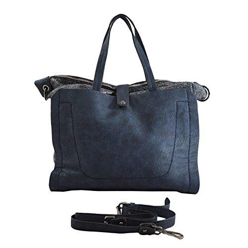 Lookat Borsa Shopper a Mano da Donna in Eco Pelle con Tracolla 36x34x12 Cm Blu