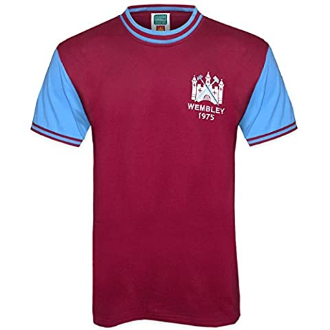 West Ham United FC Official Gift Mens 1975 FA Cup Final Retro Shirt Small