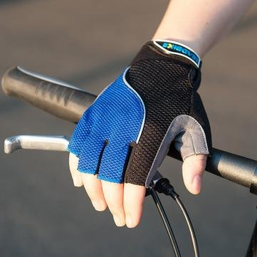 Bicycle Bike Half Finger Gloves with Reflective Tape- Blue- XL