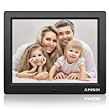 APESIN Digitaler Bilderrahmen 8 Zoll Widescreen 1024x768 Hohe Auflösung Full HD LCD Farbdisplay, Musik/Video Player/Kalender / Alarm, mit Fernbedienung (Schwarz)