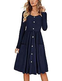 89b65811e2fde Robemon Damenmode Rundhals-Knopf Cocktailkleid Sommer Reine Farben-Lange  Hülse beiläufiges Elegantes dünnes Sitz-langes Kleid mit…
