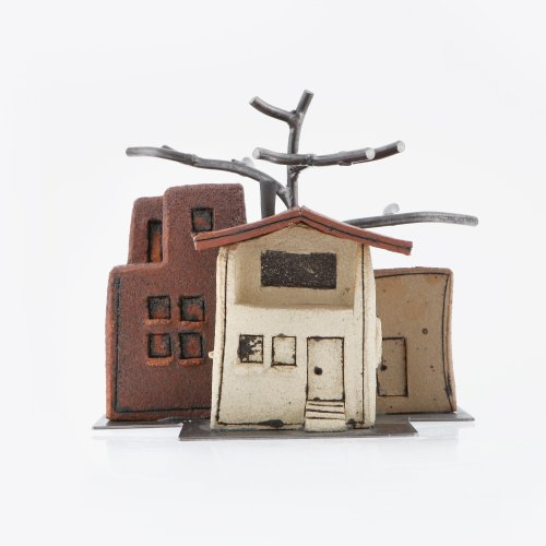 "Houses Ceramic & Metal Sculpture Table Ornament, Handmade Style A 20x20cm (8x8"")"