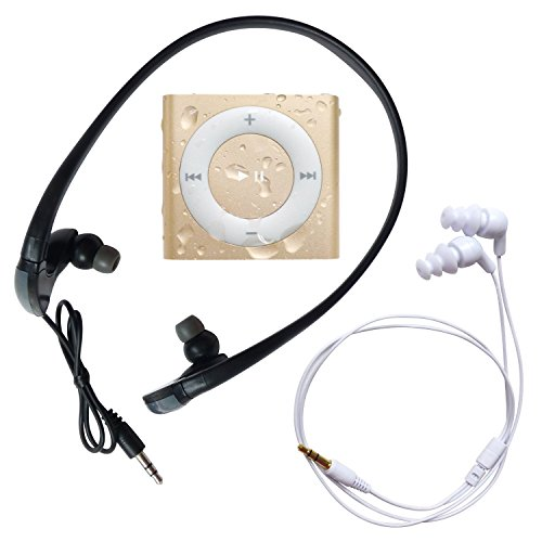 Underwater Audio - Wasserdichter iPod Shuffle (Gold), Mega Bündel mit Swimbuds UND HyrdoHarmony Wasserdichte Kopfhörer