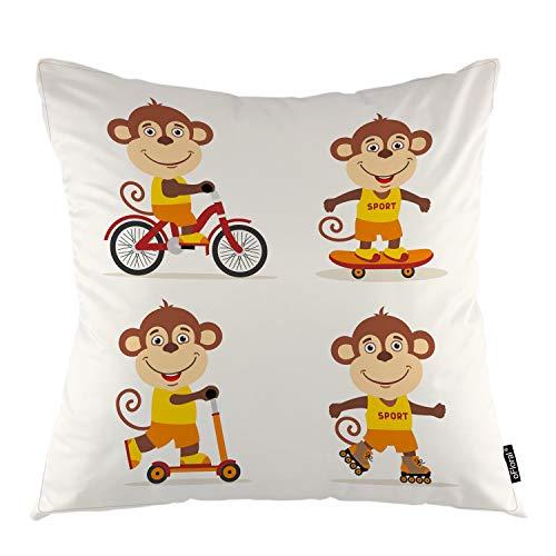 oFloral Monkey Throw Pillow Cover Funny Monkey on Bike Skateboard Scooter Pattini a rotelle Decorativo Federa di Arredamento per Camera da Letto Divano Liveroom Federa 16 X 16 inch B2-0024