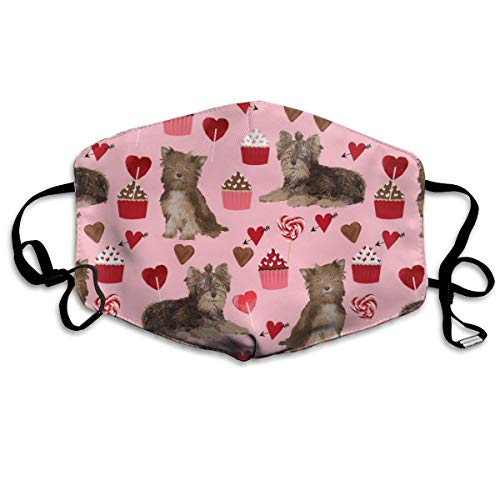 Chocolate Yorkie Dog Valentines Cute Love Dogs Anti-dust Cotton Mouth Face Masks Reusable for Outdoor Half Face Masks - Dog Food Yorkie