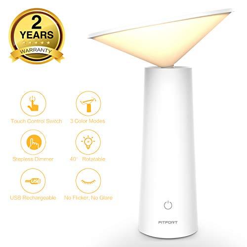 Lámpara Led de Mesa - Lámpara de Mesilla de Noche con Sensor de Tacto, Luz de Lectura 4000K Ojo Proteccion, Ajuste de Brillo Ilimitado,3 Modos de Luz,Función de Memoria para Dormitorio y Oficina