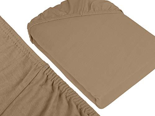 npluseins klassisches Jersey Spannbetttuch - erhältlich in 34 modernen Farben und 6 verschiedenen Größen - 100% Baumwolle, 90-100 x 200 cm, hellbraun - 3