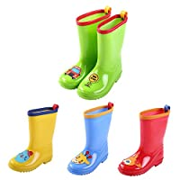 Hzjundasi Kids Children PVC Non-slip Cute Rainboots Girls Boys Waterproof Snow Boots Rain Shoes Water Shoes Winter Boots