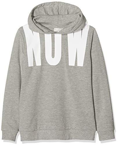 NAME IT Jungen Sweatshirt NKMVUGO LS Sweat WH UNB B, Grau (Grey Melange), 134 (Herstellergröße:134-140) Kind Kinder Sweatshirt