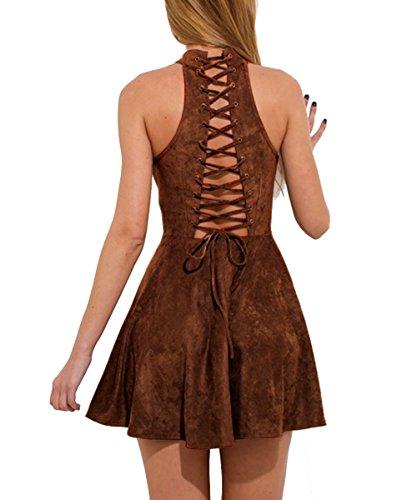 Cooshional Damen Kleider Minikleider Sommerkleider A Line ärmellos