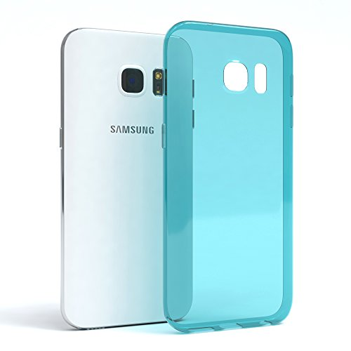 "EAZY CASE Handyhülle für Samsung Galaxy S7 Hülle - Premium Handy Schutzhülle Slimcover ""Brushed"" Aluminium Design - TPU Silikon Backcover in brushed Hellblau Clear Hellblau"