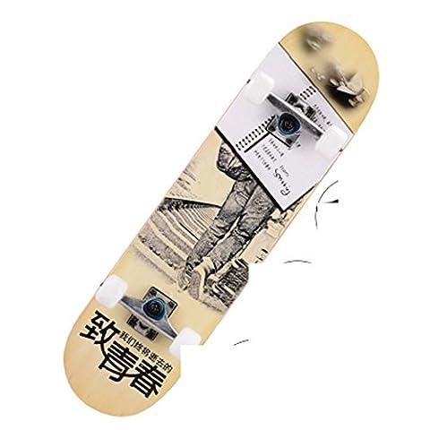 four-wheeled intermediate skateboard/Assembly concave Highway brush Street skateboarding/ adult double-up skateboard/ big worm skateboards-D