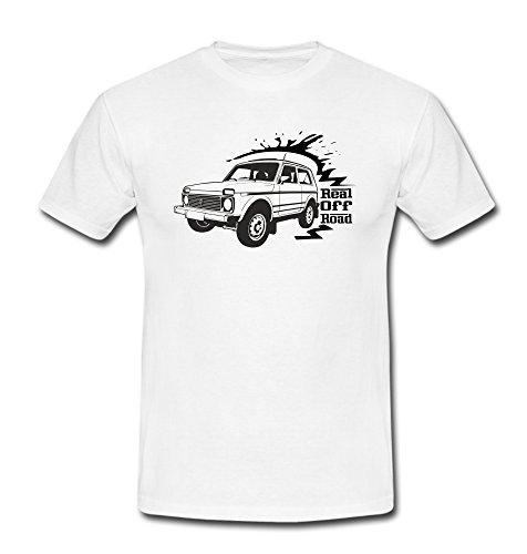 T-Shirt Niva 2121 Motiv Jeep SUV Geländewagen weiß/schwarz Weiß