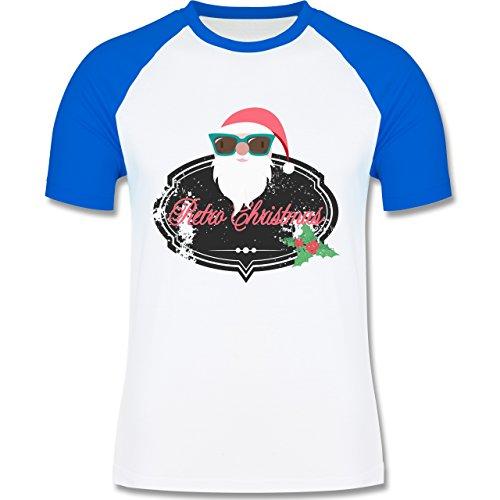 Weihnachten & Silvester - Retro Christmas Weihnachstmann - zweifarbiges Baseballshirt für Männer Weiß/Royalblau