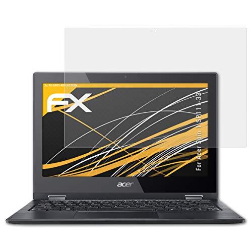 atFolix Panzerfolie kompatibel mit Acer Spin 1 SP111-33 Schutzfolie, entspiegelnde & stoßdämpfende FX Folie (2X)