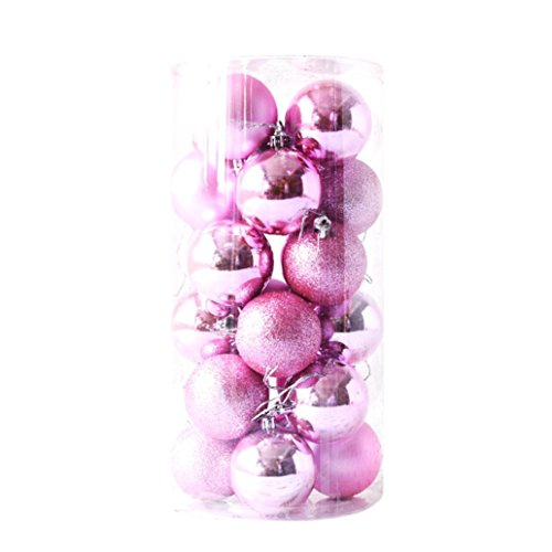 Gaddrt 24pcs Glänzender und polierter glatter Weihnachtsbaum-Ball verziert Dekorationen 2.4 '' (Rosa)