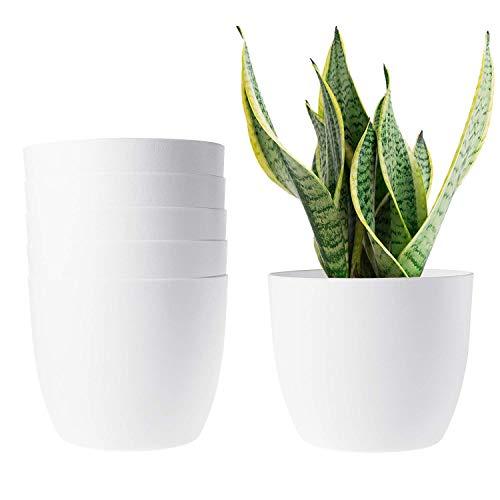 T4U 15cm Plastik Selbstbewässerung Blumentopf Rund Weiß Klein 6er-Set für Zimmerpflanzen