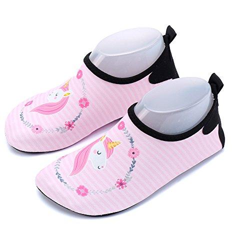 Kinder Aquaschuhe Wasserschuhe Mädchen Jungen Badeschuhe Baby Schwimmschuhe Strandschuhe Surfschuhe Barfuß Schnell Trocknend Schuhe Socken Einhorn Rosa