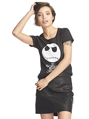 istmas Damen T-Shirt Jack Skellington Skull Baumwolle Schwarz - XS ()