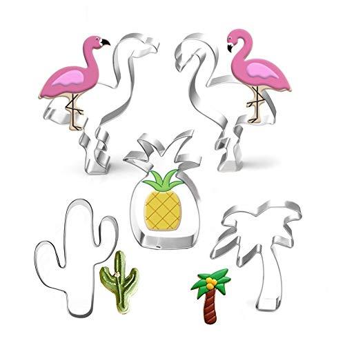 Anokay Fondant Ausstecher Ausstechformen Sommer Keksausstecher Flamingo Ananas Palme aus Edelstahl für Tortendeko Backen Zubehör (Ananas-ausstecher)