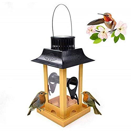 Aiviel Solar Bird Feeder Für Outdoor, Automatic Wild Birdfeeder Mit LED -Licht, Eichhörnchen Proof Pet Parrot Pigeon Kardinal Food Container Lantern Für Das Hängen Außerhalb Eave, Fenster (Solar-licht Außerhalb)