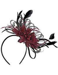 Black and Burgundy Fascinator Headband Wedding Royal Ascot Races Ladies b930b42889d3
