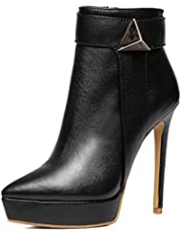 moda mujeres botas cortas cuero súper thin tacones altos acentuado lateral cremallera zapatos de tobillo . black...