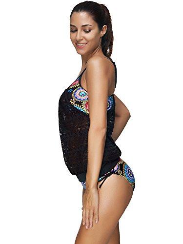 BOZEVON Donne Tankini Set costumi da bagno Costumi 3 pezzo Bikini set costume da bagno 12 colori taglia grossa stile-F